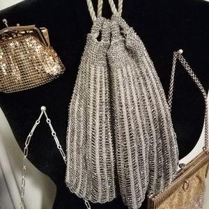 Handbags - Vintage 1920s, Silver Czech glass bead pouch bag